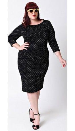 118a8212fb Unique Vintage Plus Size 1960s Style Black   White Dot Long Sleeve Mod  Wiggle Dress