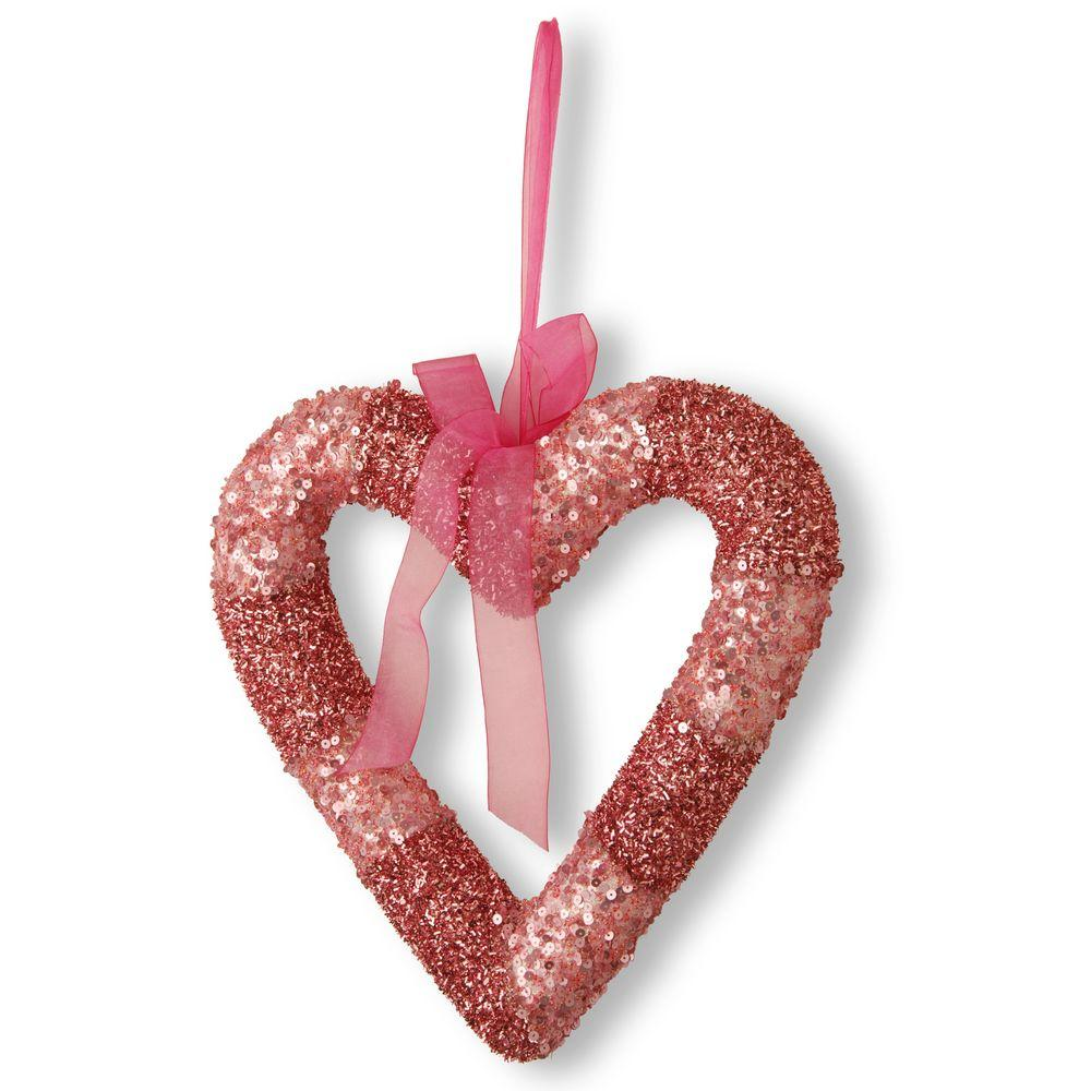 Pink Bead Glittered Valentine Heart, Reds/Pinks
