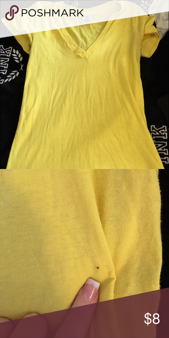 Victoria secret pink tee Yellow tee. Has a small spot that is shown in picture. Not really noticeable. Size small. Runs a bit big PINK Victoria's Secret Other