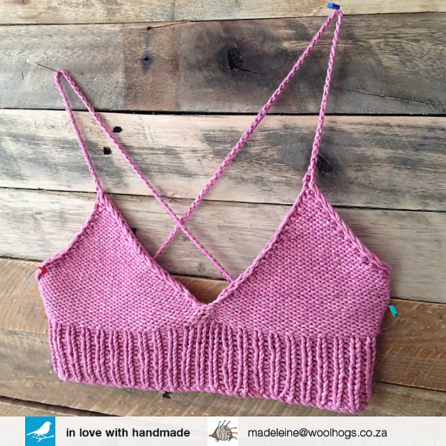 Swimsuit handmade crochet bra made of cotton and natural wool