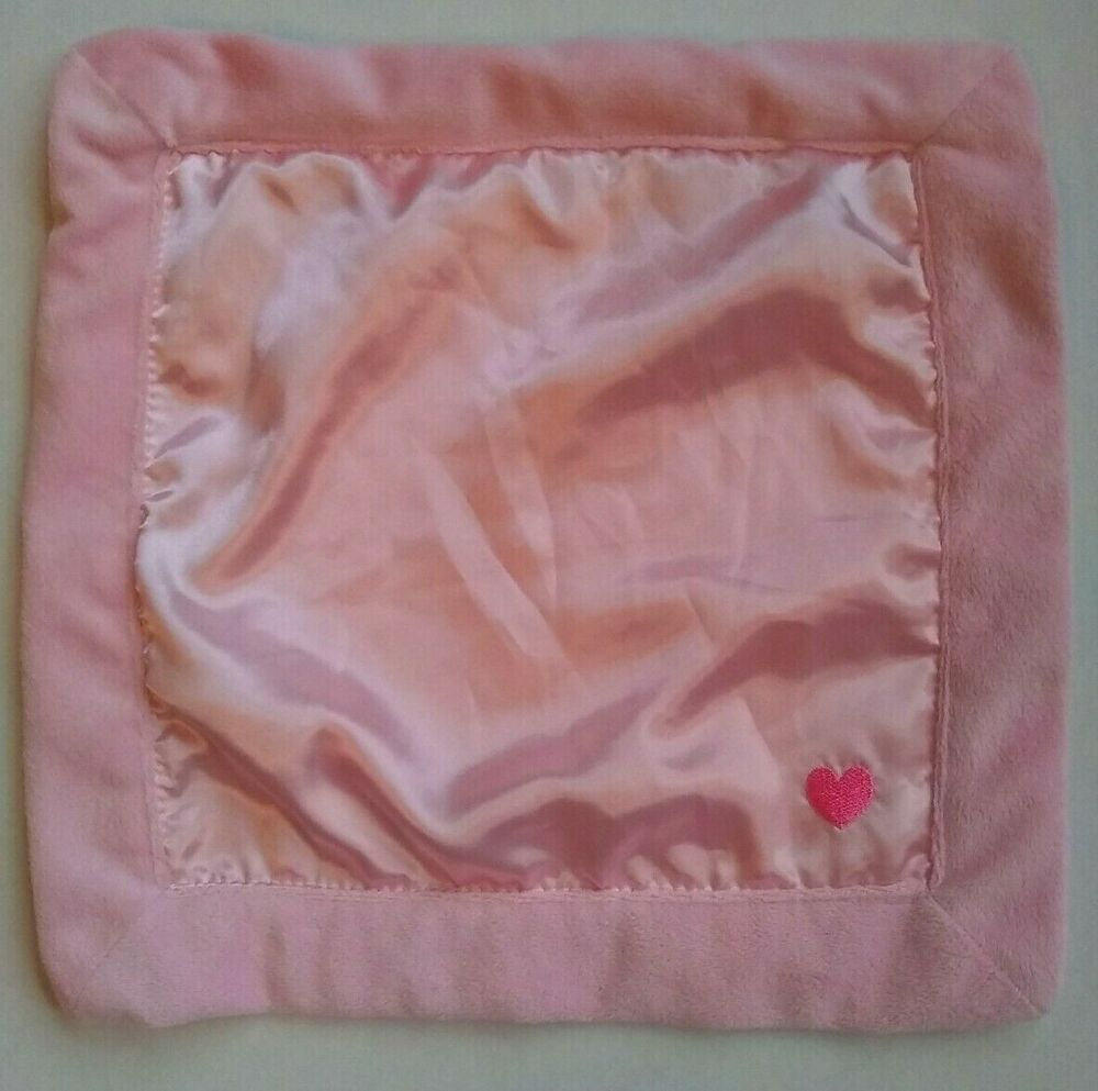 """Carters Pink Satin Heart Baby Blanket Precious Firsts Mini 15x15/"""" Security Lovey"""