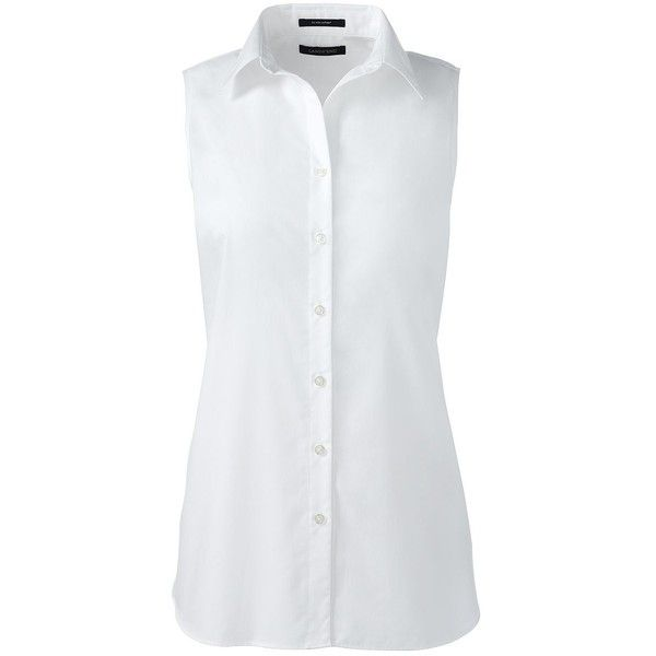 Lands' End Women's Plus Size Sleeveless No Iron Shirt (80 BRL) ❤ liked on Polyvore featuring plus size women's fashion, plus size clothing, plus size tops, tops, shirts, white, layering shirts, plus size white tops, sleeveless tops and white top