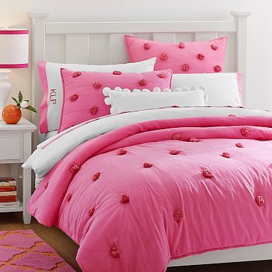 Crinkle Puff Quilt Sham Bright Pink Pink Bedding Puff Quilt Girl Beds