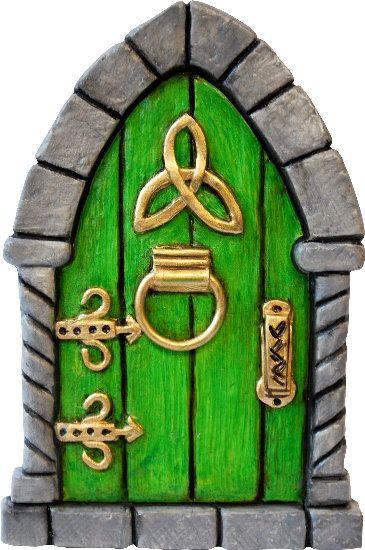 Celtic fairy door hand painted green celtic fairy door for Irish fairy door uk