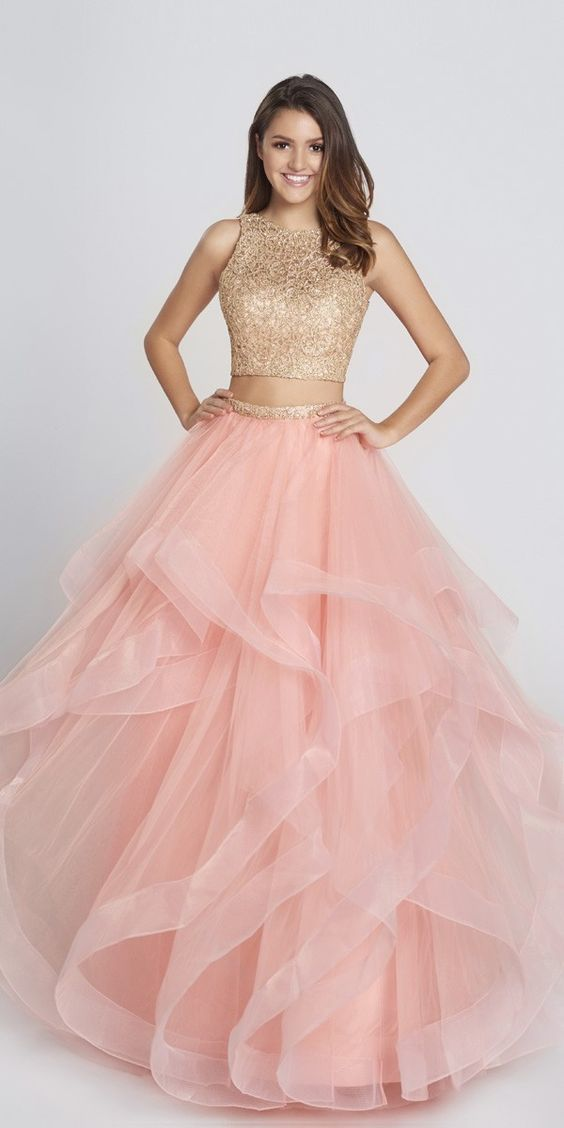 Long Tulle Two Piece Ball Gown | Ball gowns, White gold and Peach