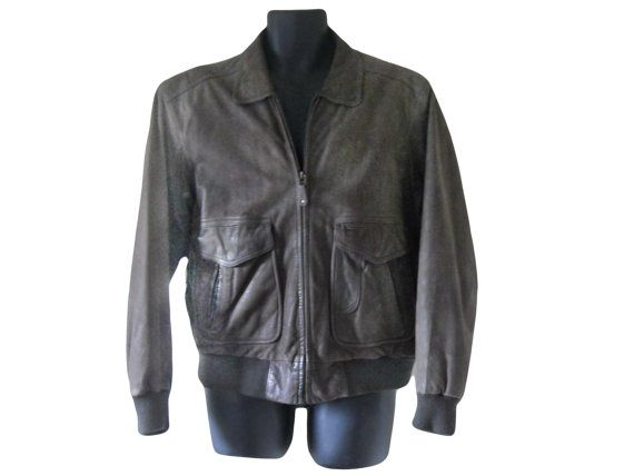 Brown Leather Bomber Jacket Men Leather Bomber by TheVilleVintage, $98.00