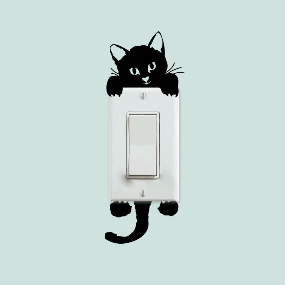 Diy funny cute black cat switch decal wallpaper wall stickers home diy funny cute black cat switch decal wallpaper wall stickers home decoration bedroom kids room light amipublicfo Image collections