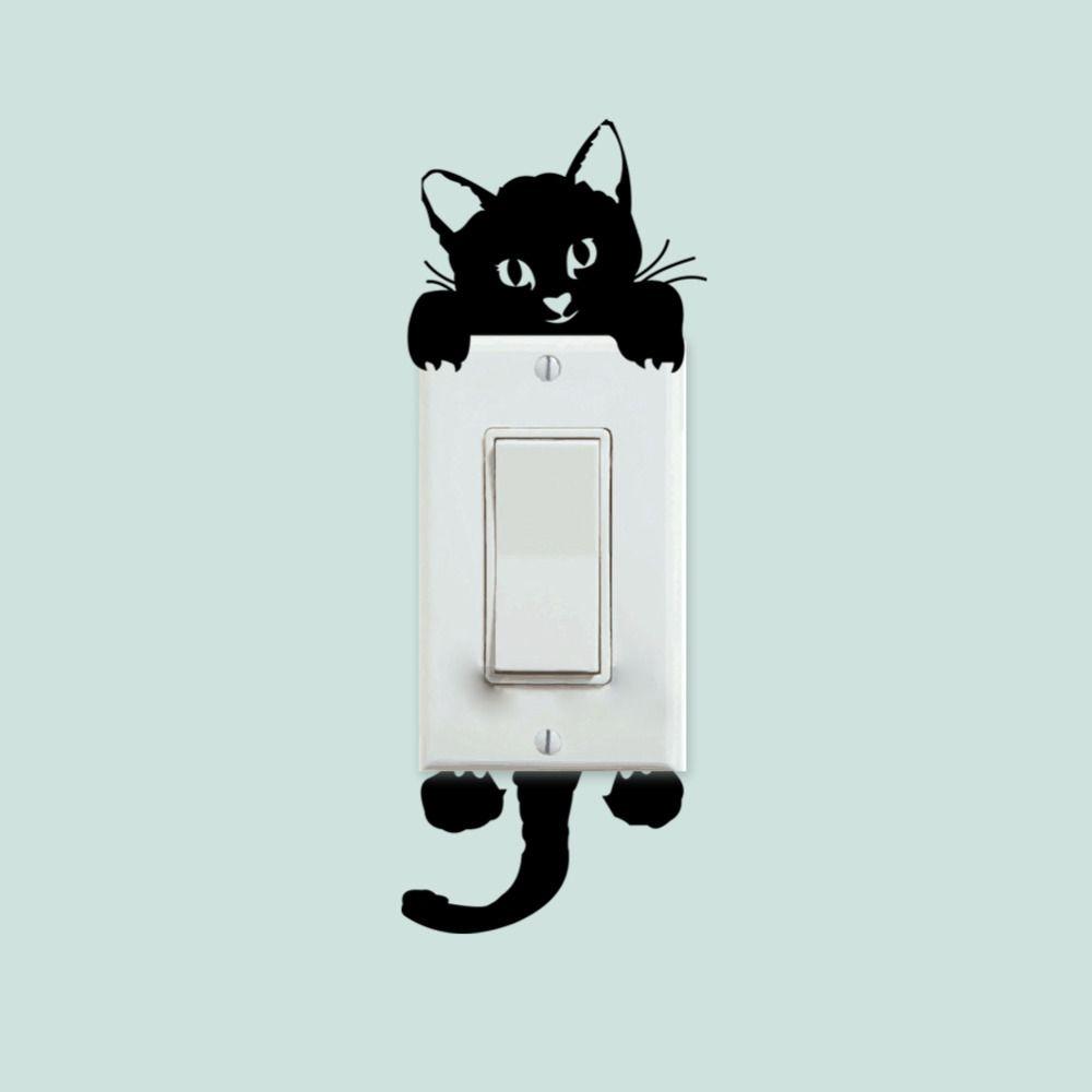 Best Diy Funny Cute Black Cat Switch Decal Wallpaper Wall 640 x 480