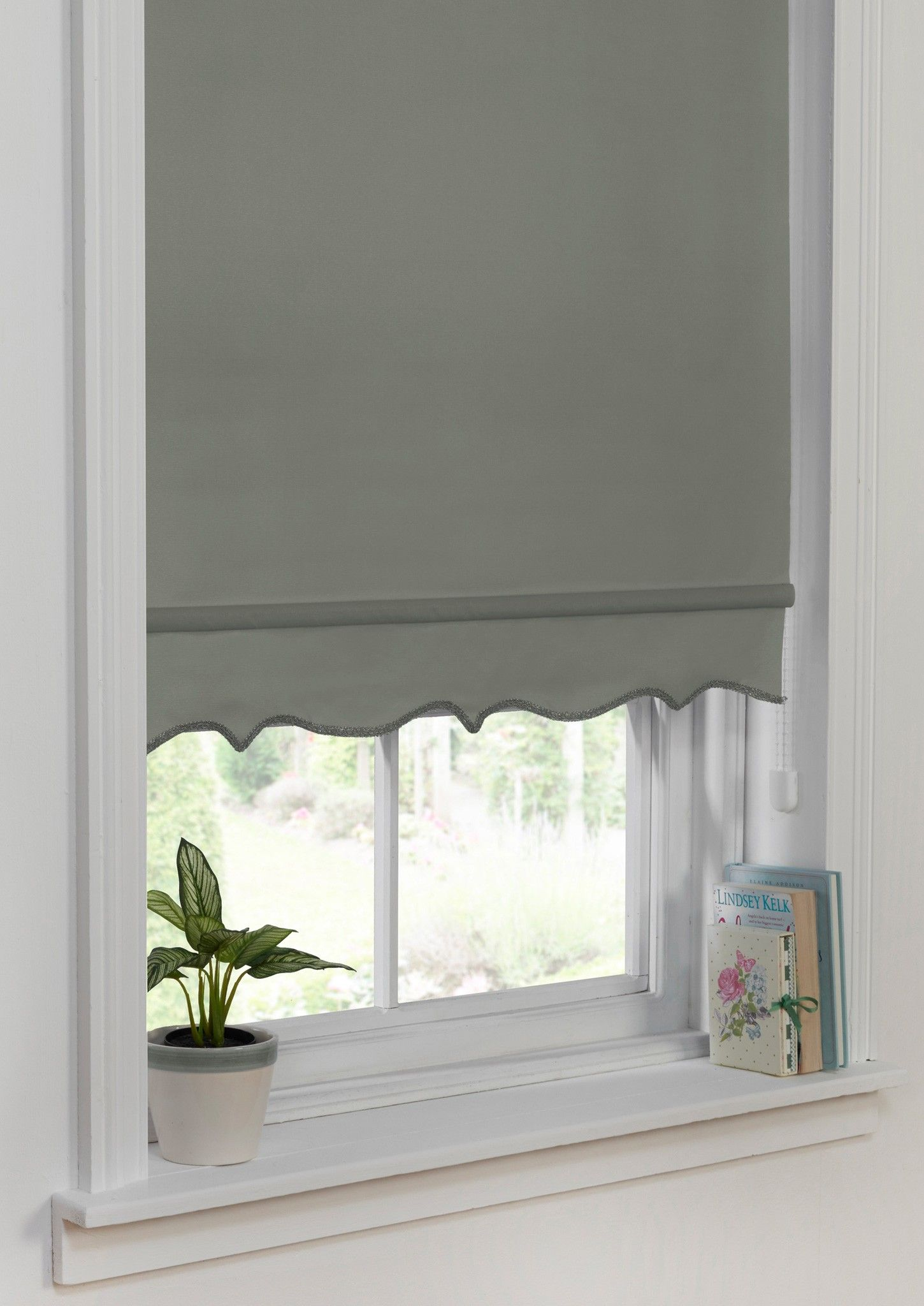 Scallop Edge Roller Blind Grey Produced In A Range Of