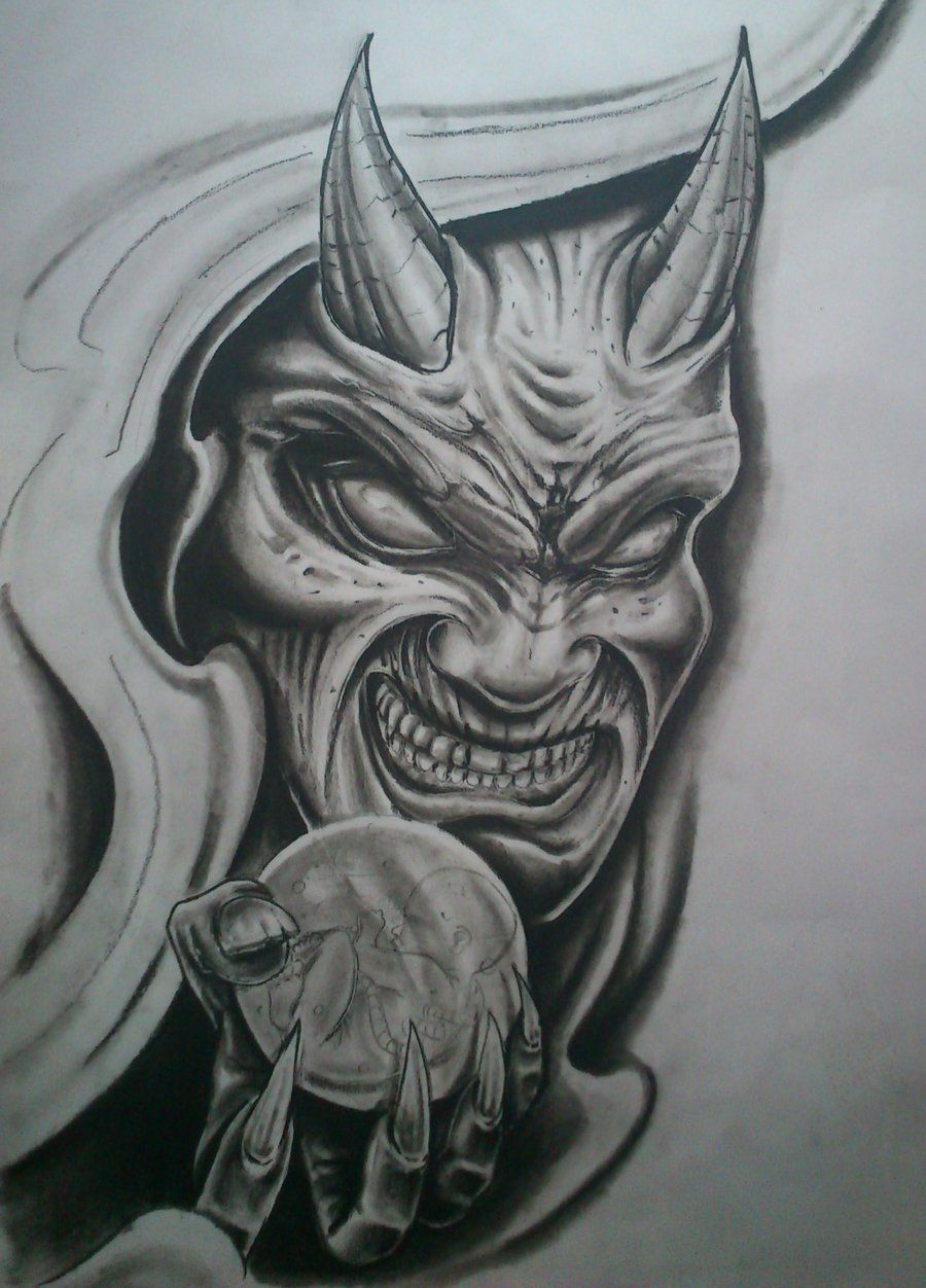 Evil Demon Face Tattoo Drawings With Images Demon Tattoo Evil Tattoos