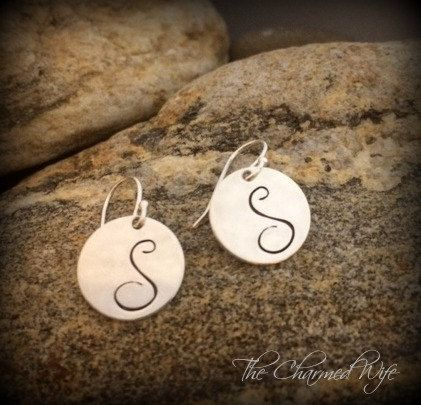 Sterling silver  Initial Earrings   Simply by thecharmedwife