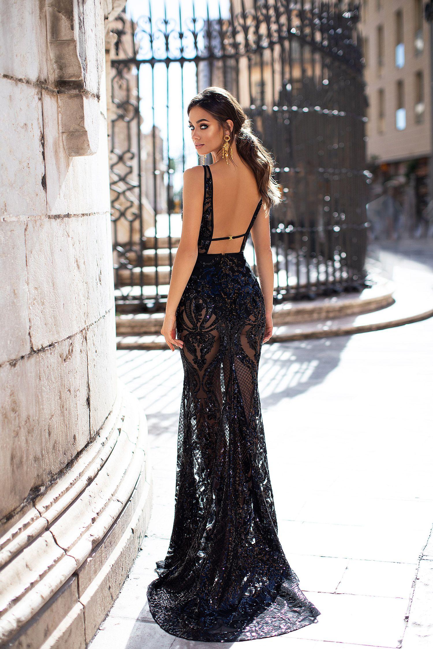 Black Sheer Sequin Prom Formal Evening Dress Black Sequin Dress Classy Dress Backless Dress Formal