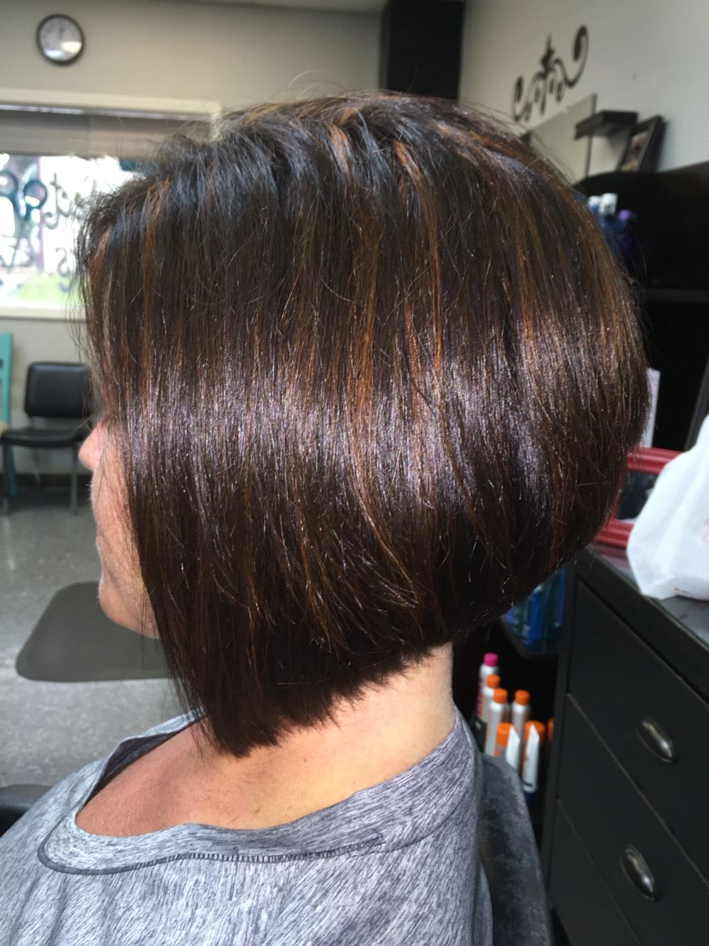 Bob With Dark Brown Base And Copper Highlights Hair By Haley Thick Hair Styles Cool Hairstyles Short Hair Styles