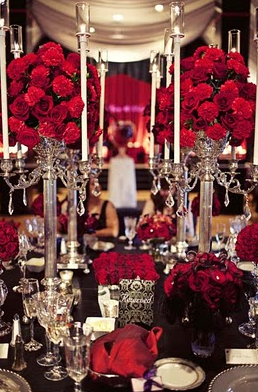 Red luxury table setting.