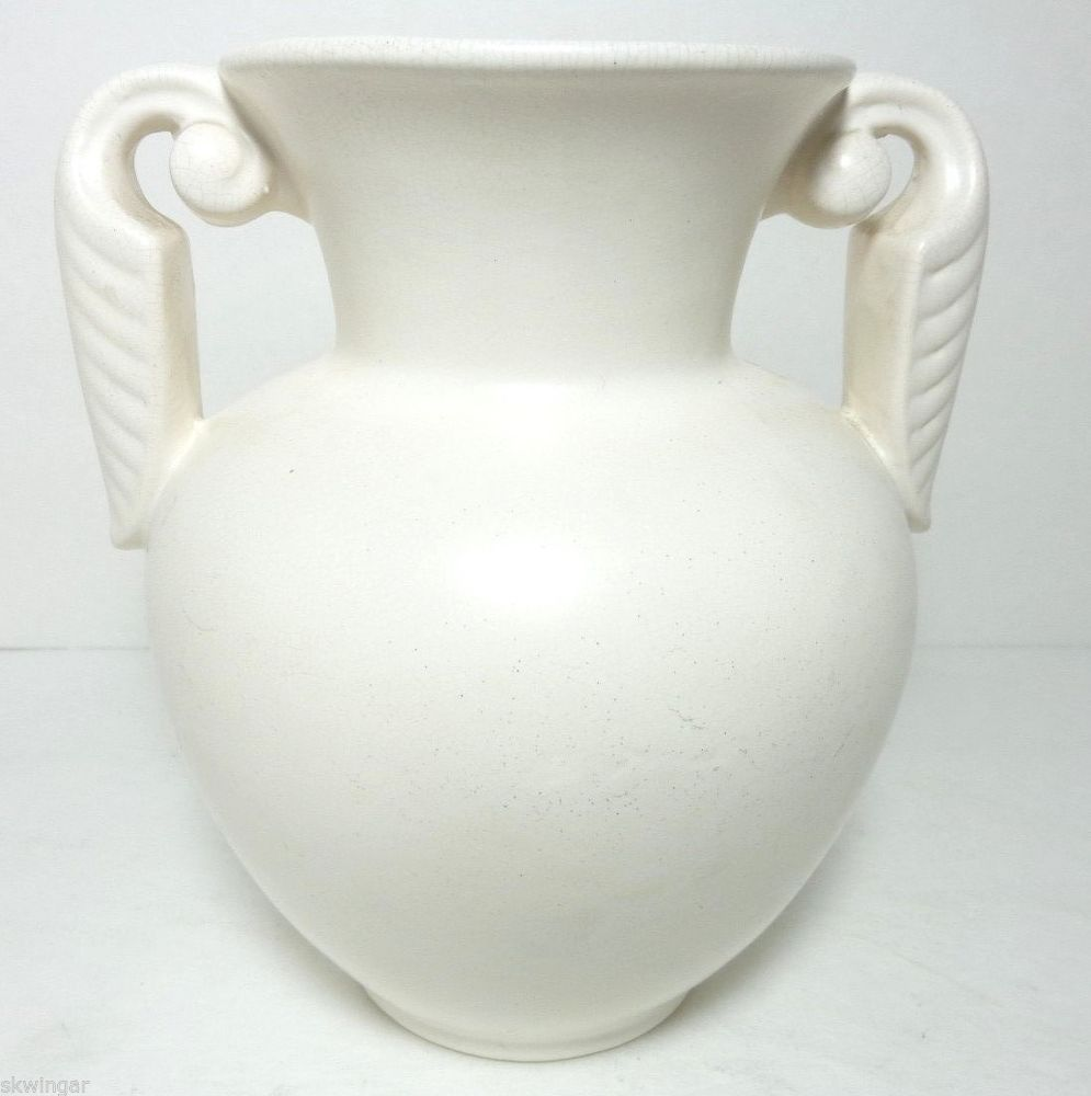 Vintage 1930s stangl pottery matt white art deco vase with leaf vintage 1930s stangl pottery matt white art deco vase with leaf scroll handles shape reviewsmspy