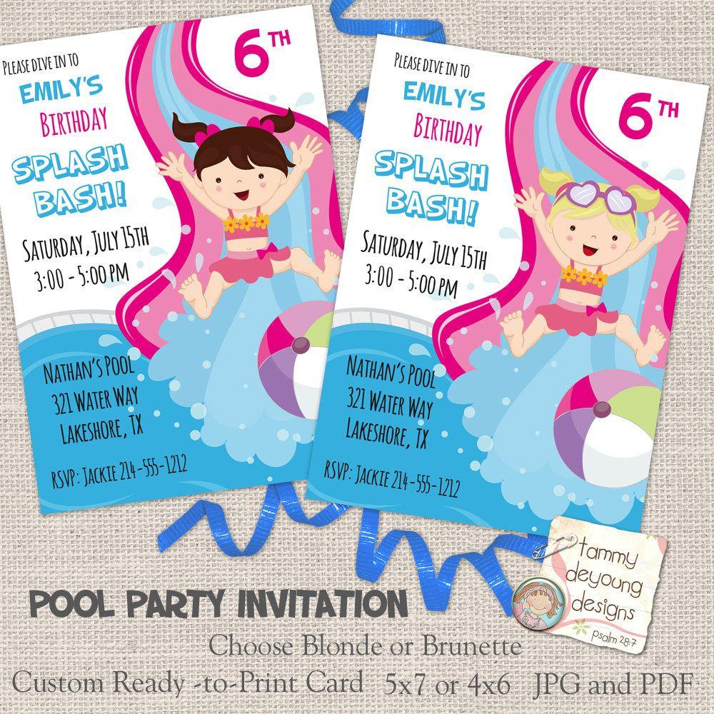 girls u0026 39  pool party invitation  splash bash party invite