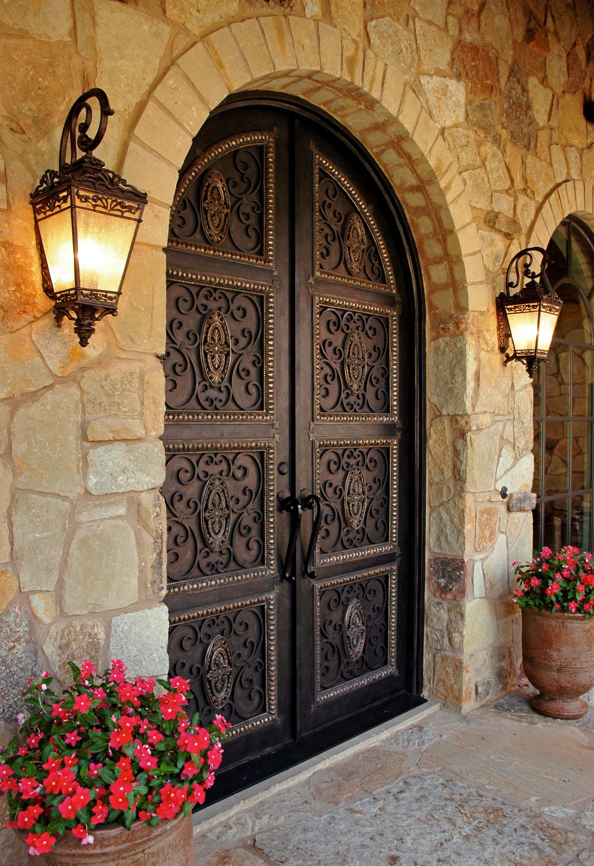 Roughtiron Front Doors And Connecticut Now Got Grander With Hand Forged Wrought Iron Doors Mediterranean Front Doors Beautiful Doors House Design