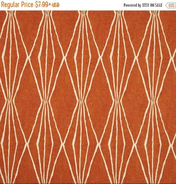 SALE Tangerine Upholstery Fabric, Dark Orange Ivory Curtain Fabric ...