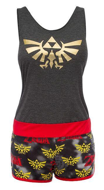 Official Womens Legend of Zelda Hyrule Logo Black Shortama Pyjama Set