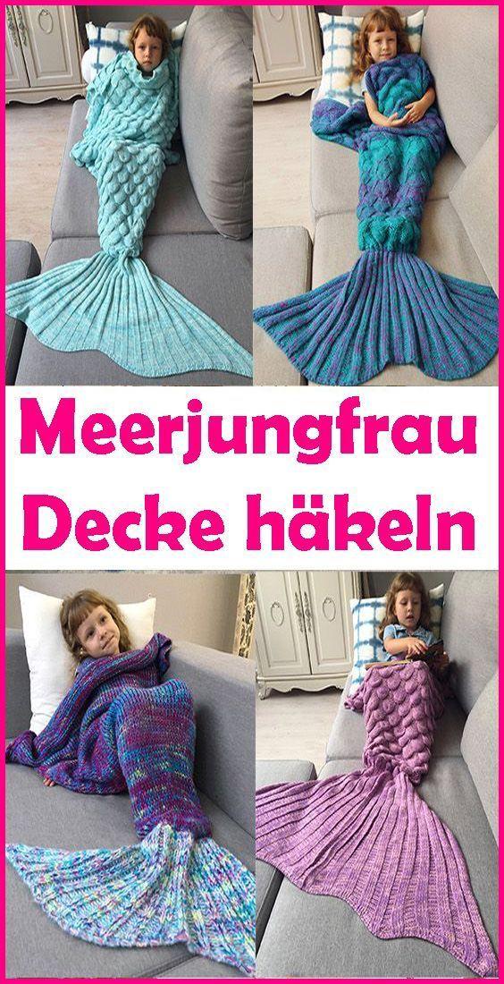 Photo of Meerjungfrau Decke häkeln – kostenlose & einfache Anleitung – Wellecraft