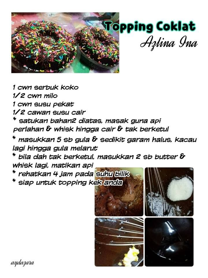 Topping Coklat No Bake Cake Frosting Recipes Indonesian