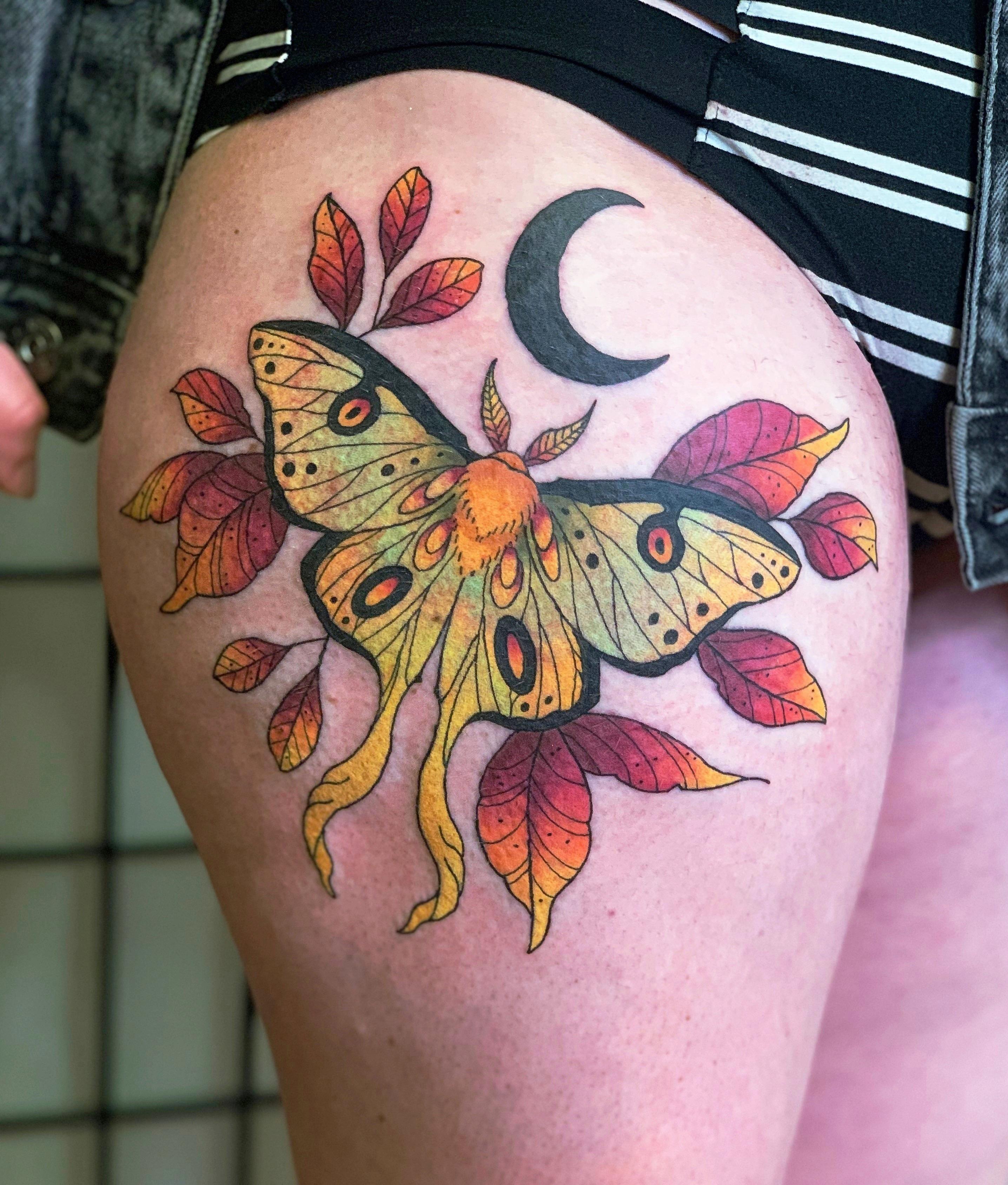 Lunar moth done by Cesar Cabrera at nite owl gallery tattoo San Diego IG: vi_tenebris #tattoos