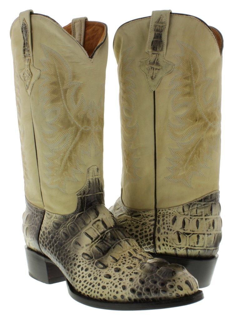 Men's Natural Full Crocodile Leather Cowboy Boots Round Toe