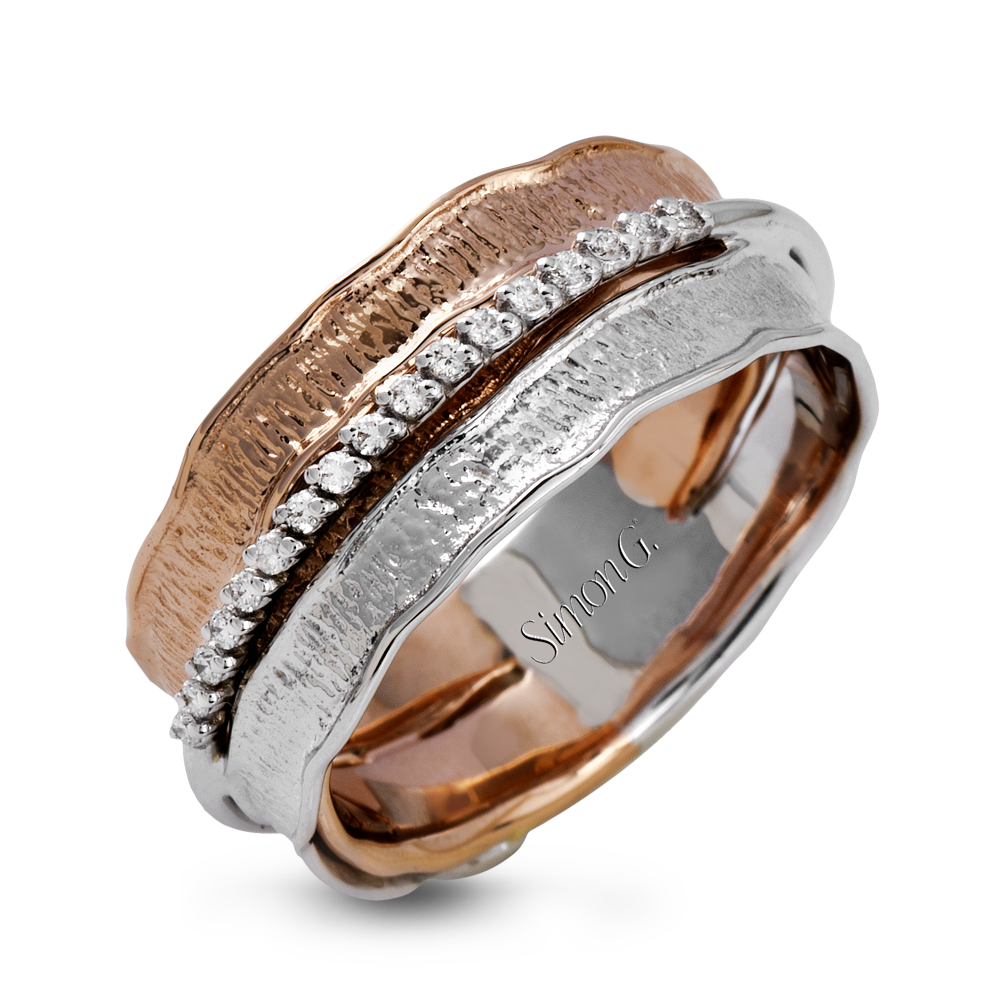This band has a unique, organic design with 18k rose and white gold accented by a line of .08 ctw of white round brilliant diamonds.