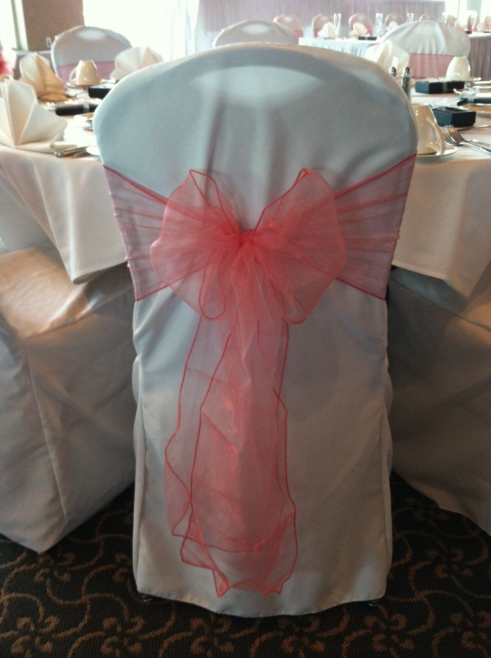 Beach wedding chair sashes - Wedding Coral Reef Guava Organza Sashes Ties On White Chair Cover
