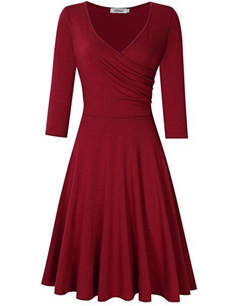 8f4e96d71c7b Womens A-Line 3/4 Sleeve Dress Fit Flare Jersey Dresses Red M ...