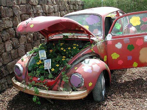 I wonder if my husband would mind if I put an old VW in the backyard?