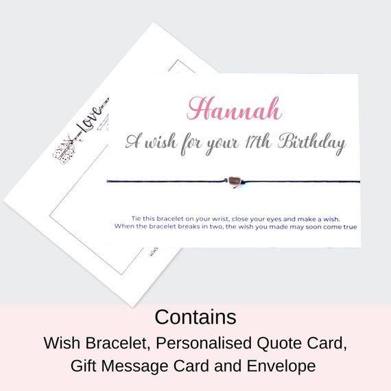 Personalised 17th Birthday gift, 17th Birthday Wish Bracelet, Rose Gold Plated Premium Bracelet #17thbirthday
