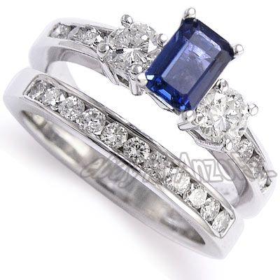 Genial Ring · 14k Gold Sapphire Diamond Engagement Ring Set