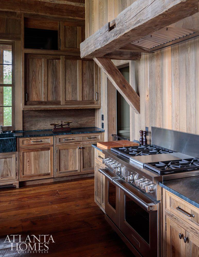 Rustic Wood Cabin Kitchen Rangehood Melanie Millner The Design Atelie House Tour Lake Wateree Hunting Lodge On Atlanta Homes