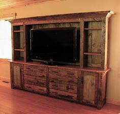rustic entertainment center, barn wood furniture @ Pin Your Home