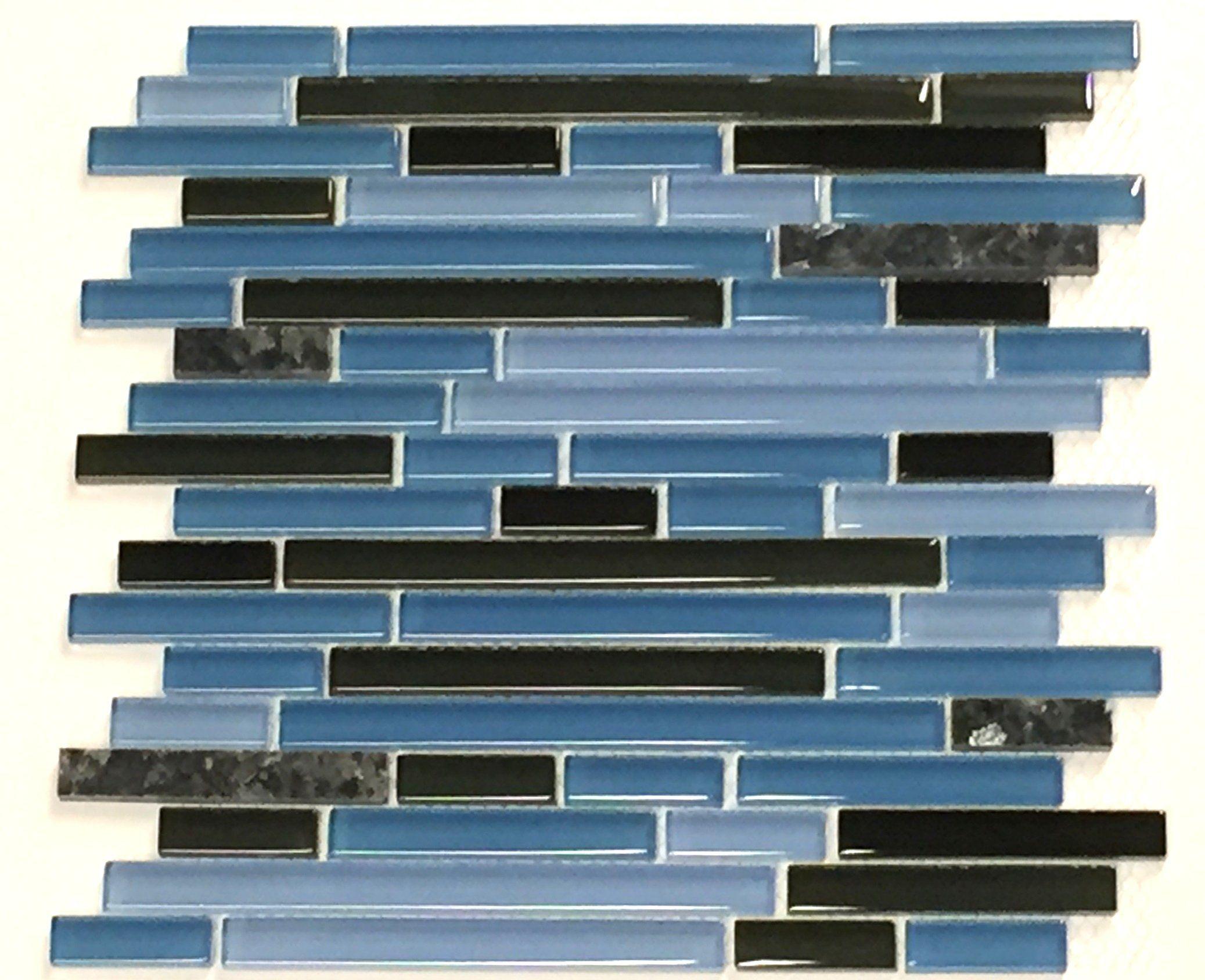 Robot Check Blue Pearl Granite Pattern Glass Blue Glass Tile
