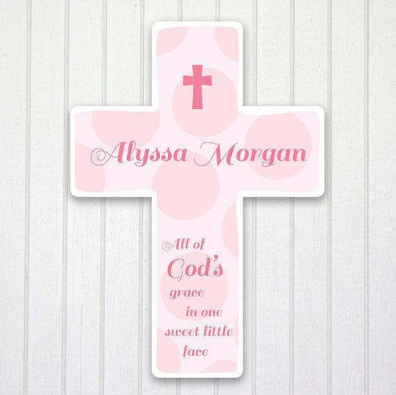 Personalized wall cross girls room nursery decor baby gift keepsake personalized wall cross girls room nursery decor baby gift keepsake approx 98 gods grace negle Image collections