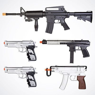 Cool New 5x Airsoft Guns Combo M16 Rifle Silver Uzi Beretta Pistols
