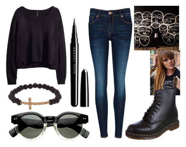 """""""1016"""" by ines-bacelo ❤ liked on Polyvore featuring H&M, MANGO, Ted Baker, Dr. Martens, Luis Morais and Marc Jacobs"""