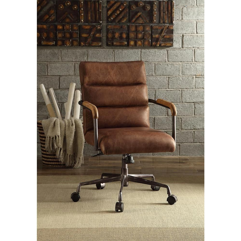 Acme Furniture Harith Retro Brown Top Grain Leather Office