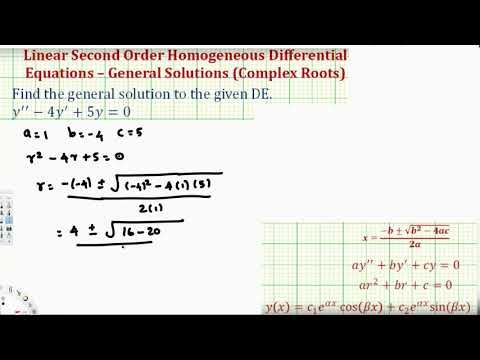 Linear Second Order Homogeneous Differential Equations Complex
