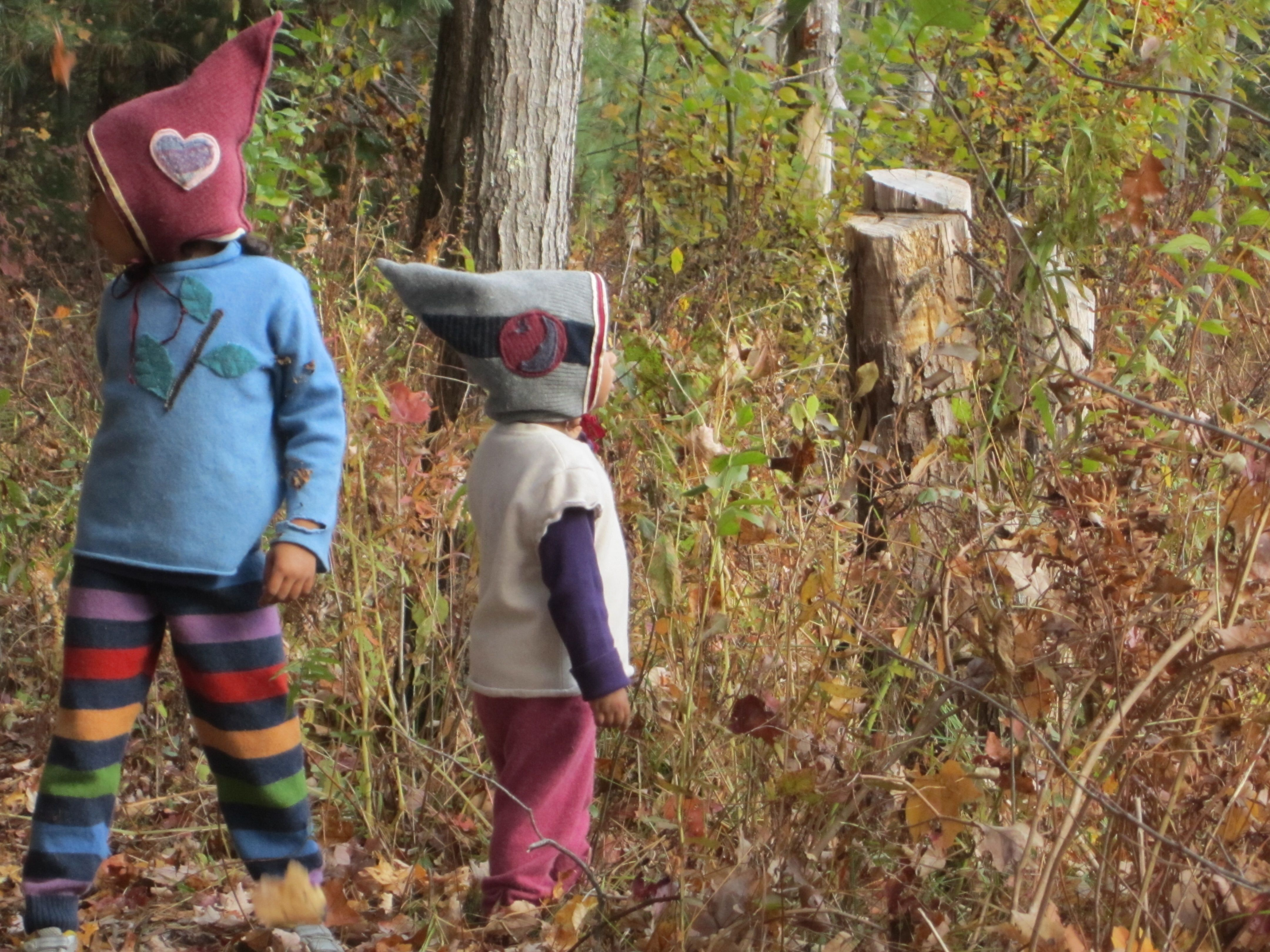 Gnome hats and woolie pants & shirts for my girls- all made with upcycled wool and cashmere sweaters