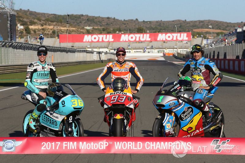 Moto3 Champion Joan Mir Leopard Racing Motogp Champion Marc Marquez Repsol Honda Team Moto2 Champion Franco Morbidelli Marc Vd Motogp Marc Marquez Marquez