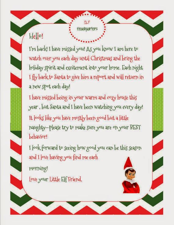 Fan image intended for elf on shelf letter printable