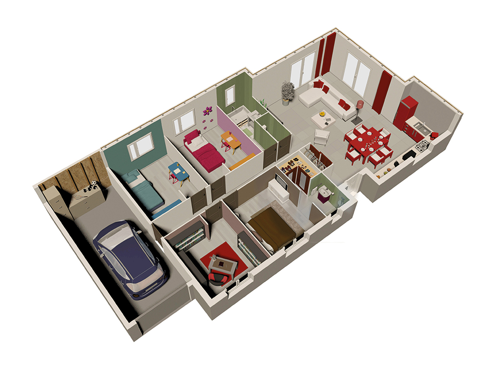 Maison ossature bois plan natireo rdc natilia 1 maison for Plan maison bois
