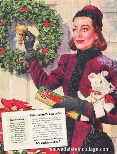 Christmas With The Crawfords 2021 Xmas Joan Crawford Lucky Strikes 1937 In 2021 Joan Crawford Christmas Ad Christmas Ephemera