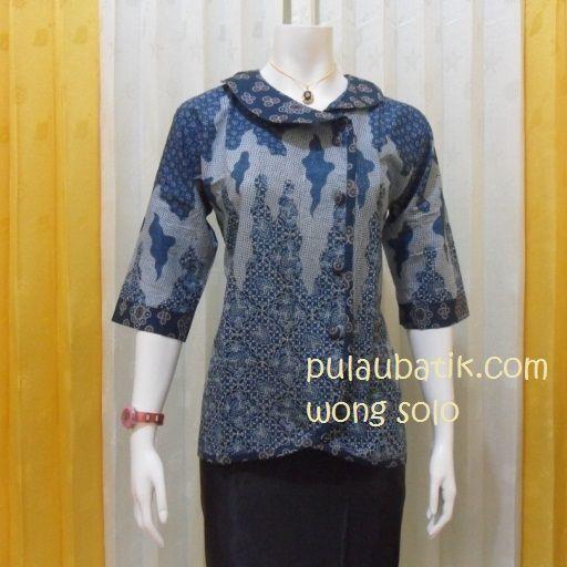 MODEL BAJU BLUS BATIK KERJA WANITA BB136 Blus batik kerja dengan model  lengan 3 4 aef3fcc645