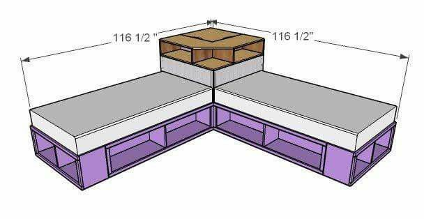 Pin By Manal Meky On Decor Twin Storage Bed Corner Twin Beds Diy Furniture Plans