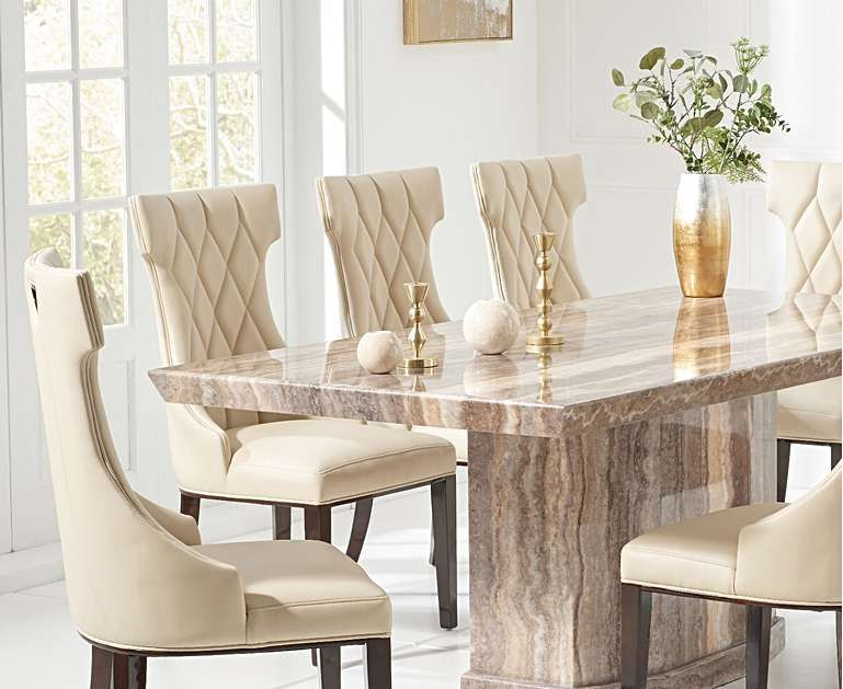 Carvelle 200cm Brown Pedestal Marble Dining Table With Freya Chairs Dining Table Marble Granite Dining Table Marble Dining Table Set