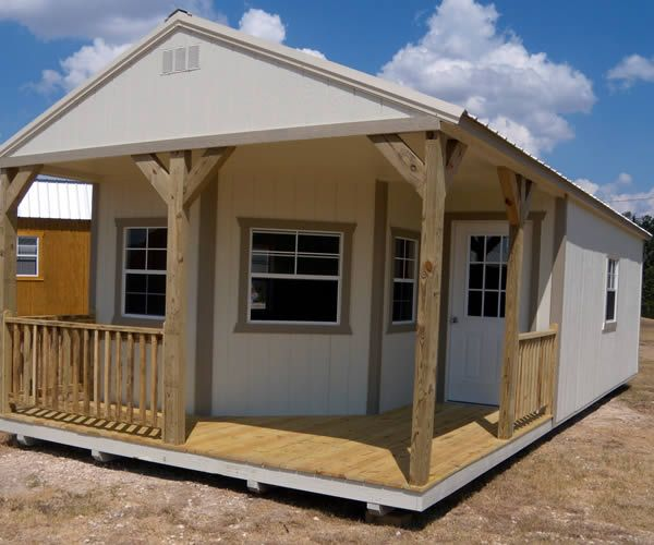 Derksen Portable Painted Deluxe Cabin With Porch. Visit